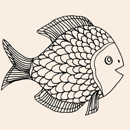 hand line fishing: ornamental graphic fish. Vector vintage engraving. Zentangle. Hand drawn artwork. Bohemia concept for restaurant menu card, branding, logo label. Black and beige Illustration