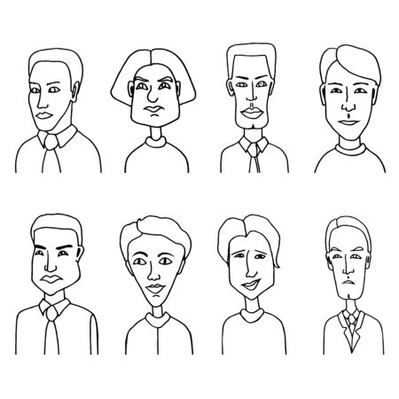 Sketch people icons. Men hand-drawn avatars isolated