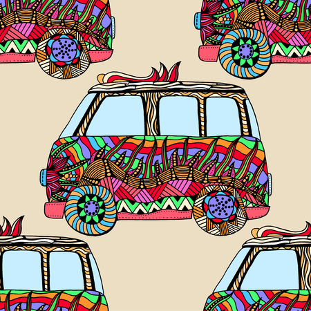 mini van: Seamless Pattern of Vintage car a mini van. Hand drawn image. The popular bus model in the environment of the followers of the hippie movement. Vector illustration. Illustration