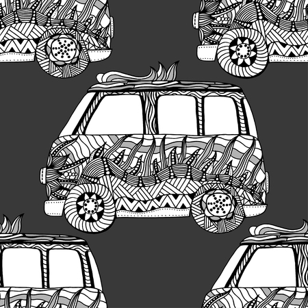 beach side: Seamless Pattern of Vintage car a mini van. Hand drawn image. The popular bus model of the hippie movement. Vector illustration.