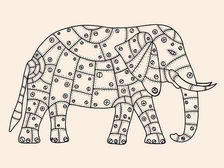 drawn metal: Hand Drawn Black, beige color elephant metal patches with rivets and bolts. Vector illustration