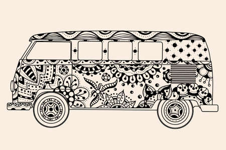 beach side: Vintage bus Black, beige color. Hand drawn image. Monochrome vector illustration. The popular bus model in the environment of the followers of the hippie movement. Illustration