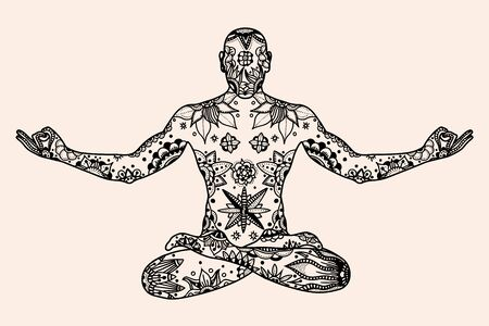 yogi aura: Hand drawn vector Yoga lotus pose with floral elements in Black, beige color doodle style. Pattern for coloring book
