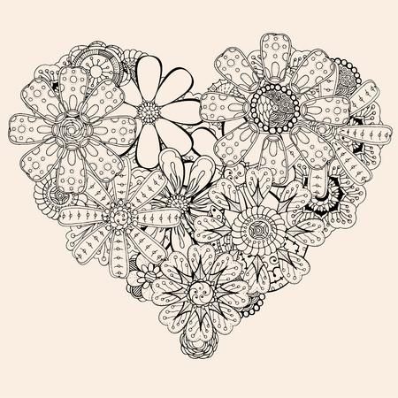 Monochrome Heart of flower doodle background. pattern for coloring book. Vector illustration, Black beige color