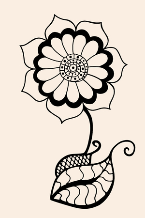nonexistent: Hand Drawn Sketch of abstract flower. Vector illustration, Black beige color Illustration