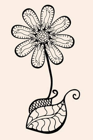 Hand Drawn Sketch of abstract flower. Vector illustration, Black beige color Illustration