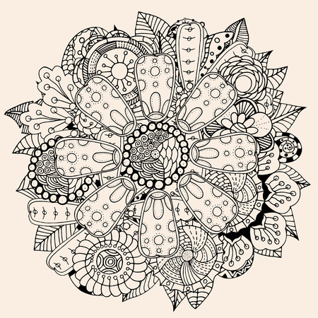 arab adult: Black and beige color circle flower ornament, ornamental round lace design. Floral mandala. Hand drawn ink pattern made by trace from personal sketch. Illustration