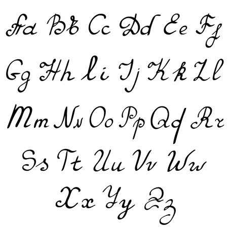 italics: vector real hand Alphabet, uppercase and lowercase letters