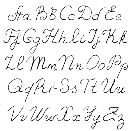 uppercase: vector real hand Alphabet, uppercase and lowercase letters