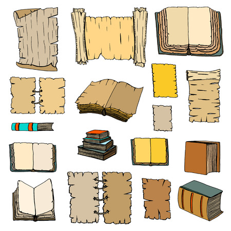 manuscripts: Hand Drawn Illustrations of Big Set Books and manuscripts. Doodle vector illustration isolated on light Colored background.
