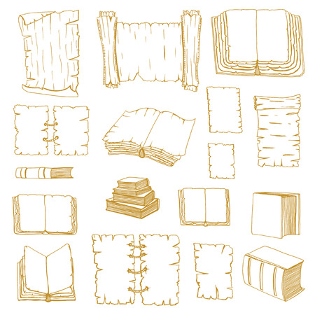 manuscripts: Monochrome Hand Drawn Illustrations of Big Set Books manuscripts. Doodle vector illustration isolated on white background.