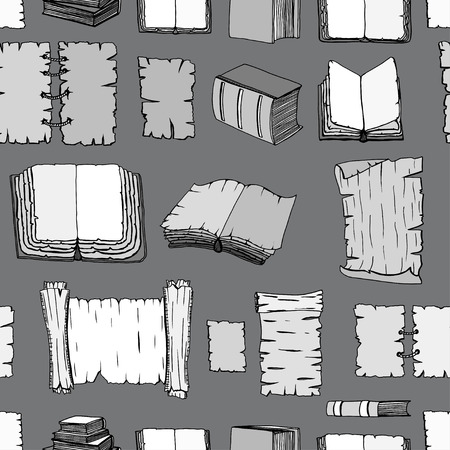 manuscripts: Seamless Hand Drawn Illustrations Pattern of Big Set Books manuscripts. Doodle vector illustration isolated on black background.