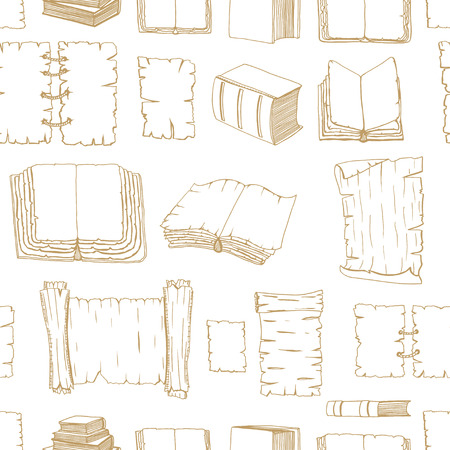 manuscripts: Seamless monochrome pattern of Hand Drawn Illustrations of Big Set Books manuscripts. Doodle vector illustration isolated on white background. Illustration