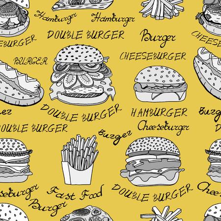 Seamless Wallpaper in bianco e nero sfondo di disegnati a mano impostati illustrazioni abbozzati di fast food, hamburger, hot dog, patatine fritte e pizza. illustrazione di vettore Vettoriali