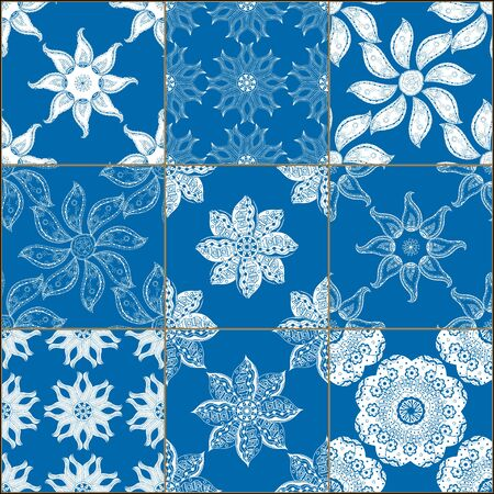 Creative set of classical blue ceramic tiles. Doodles mosaic with hand drawn floral and geometrical patterns. Lines, flowers, sun, stars, mandalas, waves.