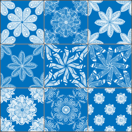 Mega Gorgeous seamless patchwork pattern from dark blue and white Moroccan, Portuguese tiles, Azulejo, Arabic ornament. Islamic art.