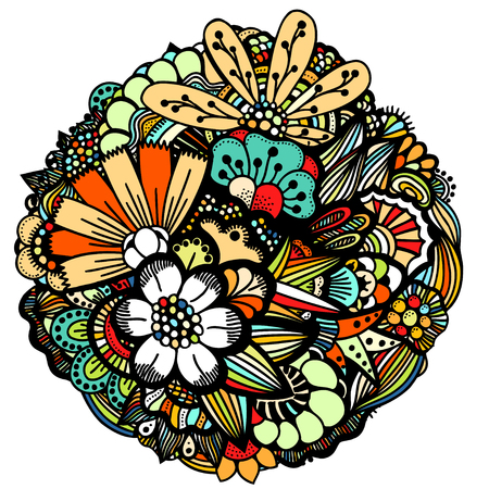 Set of colored Spring flowers. Hand drawn picture in a circle. Vector illustration.