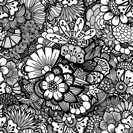 could: Hand drawn floral wallpaper with set of different flowers. Could be used as seamless wallpaper, textile, wrapping paper or background Illustration
