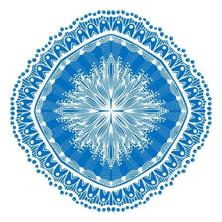 ritual: Beautiful blue mandala. Vector illustration isolated on white Illustration