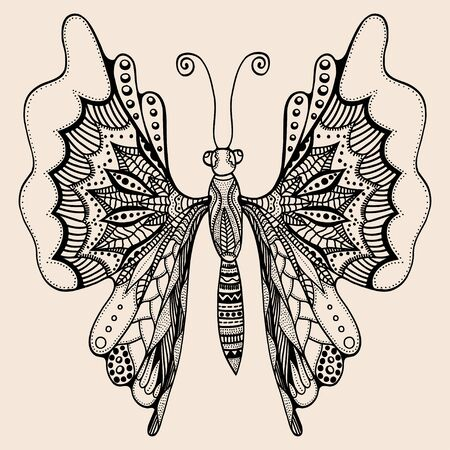 Hand drawn butterfly of abstract flowers, plant. Vector. Set collection. Creative bohemia concept for wedding invitations, cards, tickets, congratulations, branding, logo, label Black and beige