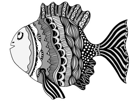 motive: hand drawn fish, vector doodle illustration. Motive of sea life
