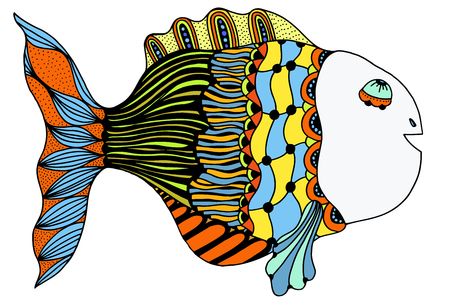 dead fish: Stylized Hand Drawn Fish. Vector illustration image