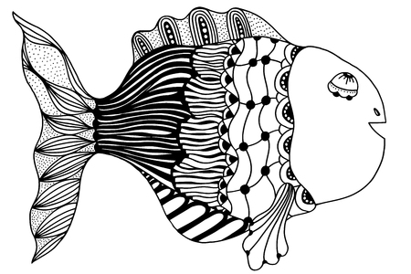 hand line fishing: hand drawn fish, vector doodle illustration. Motive of sea life