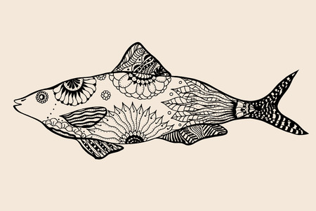 ornamental graphic fish. Vector vintage engraving. Zentangle. Hand drawn artwork. Bohemia concept for restaurant menu card, branding, logo label. Black and beige 矢量图像