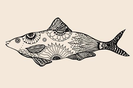 ornamental graphic fish. Vector vintage engraving. Zentangle. Hand drawn artwork. Bohemia concept for restaurant menu card, branding, logo label. Black and beige Illustration