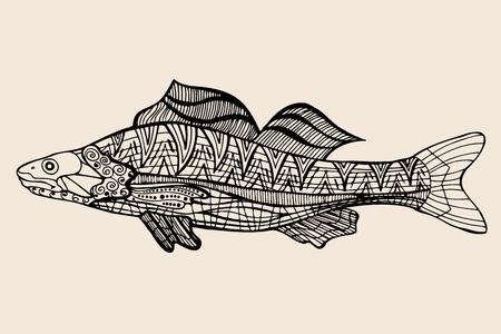 ornamental graphic fish. Vector vintage engraving. Zentangle. Hand drawn artwork. Bohemia concept for restaurant menu card, branding,   label. Black and beige