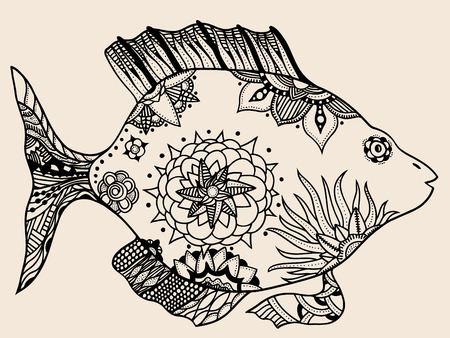 ornamental graphic fish. Vector vintage engraving. Zentangle. Hand drawn artwork. Bohemia concept for restaurant menu card, branding,  label. Black and beige 矢量图像