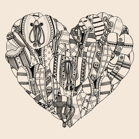 bo: Big Heart of small hand drawn hearts. Background for Valentines day. Sketch for coloring book. Vector, doodle design elements. Black and beige