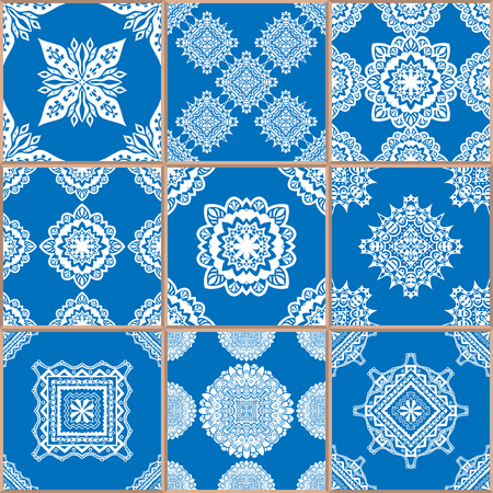 azulejo: Mega Gorgeous seamless patchwork pattern from dark blue and white Moroccan, Portuguese tiles, Azulejo, Arabic ornament. Islamic art.