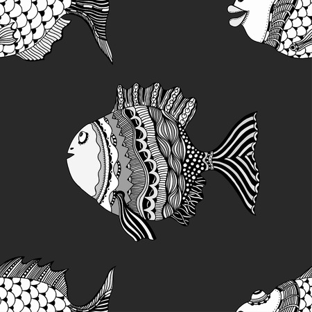 ornamental fish: Seamless abstract hand-drawn ornamental fish with waves pattern. Zentangle ornamental fish background. Doodl style.