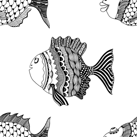 Seamless abstract hand-drawn ornamental fish with waves pattern. Zentangle ornamental fish background. Doodl style.