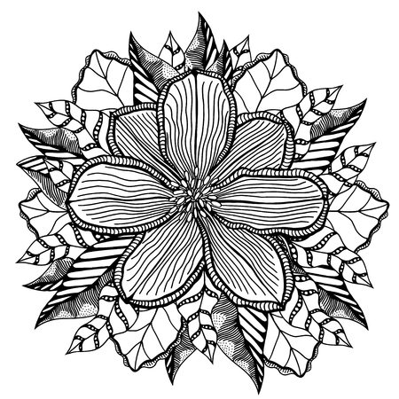 abstract rose: Flower on a white background in a black lines. Doodle floral image for coloring book and designs ideas