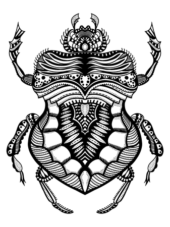 Black and white hand drawn zentangle stylized beetle. Doodle ethnic patterned vector bug. African, egyptian totem. Sketch for tattoo, poster, print or t-shirt Illustration