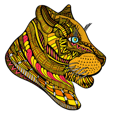 tiger page: Tiger head. Adult antistress coloring page. Colored hand drawn doodle animal. Ethnic patterned vector. African, indian, totem tribal, zentangle design. Sketch for tattoo, poster, print, t-shirt