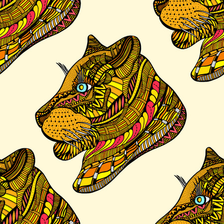 undomesticated: Colored Seamless Tiger pattern. Vector illustration image