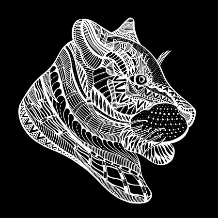 tiger page: Hand-drawn tiger with ethnic floral pattern. Coloring page - zendala, design for spiritual relaxation for adults, vector illustration, isolated on a black background. Zen doodles.