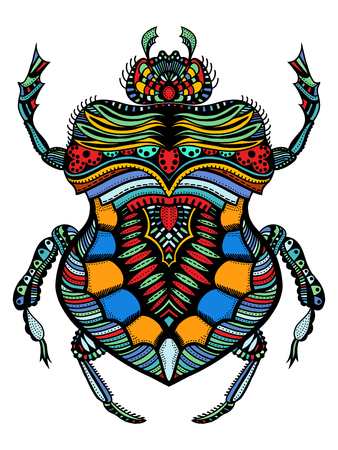 Hand drawn colored odontolabis cuvera bug for coloring page,logo, t shirt design effect and tattoo Illustration