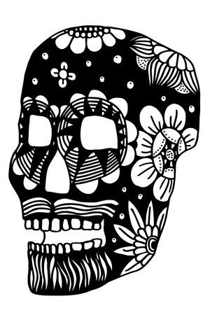 all saint day: Hand drawn Skull of abstraxt flower. Vector illustration Illustration