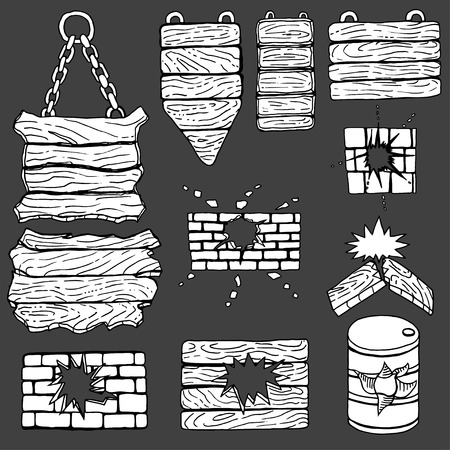 wooden plank: grunge wooden plank, brick wall. Vector illustration