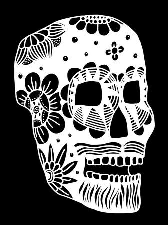 halloween tee shirt: Hand drawn Skull of abstraxt flower. Vector illustration Illustration