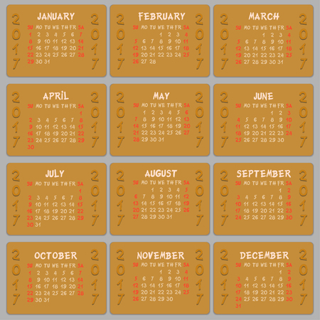weeks: Vector calendar 2017 - weeks start on sunday. Can be used for web and print design: card, banner, poster, label, bookmark. Illustration
