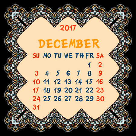 desember: Calendar for 2017 Year. Desember, Vector Design Print Template with Oriental colorful frame. Islam, Arabic, Indian, ottoman motifs. Vintage decorative element.