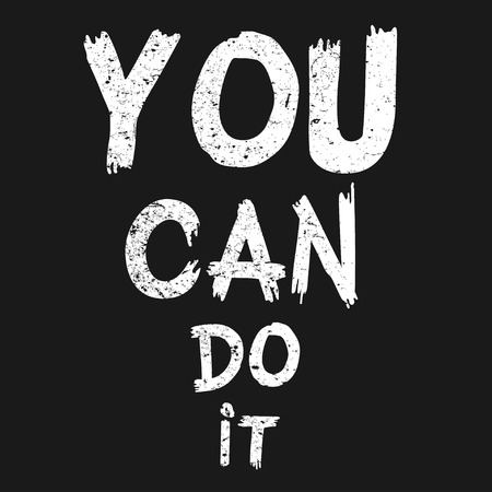 Inspirational quote You Can Do It. Hand written calligraphy, brush painted letters. Vector illustration.