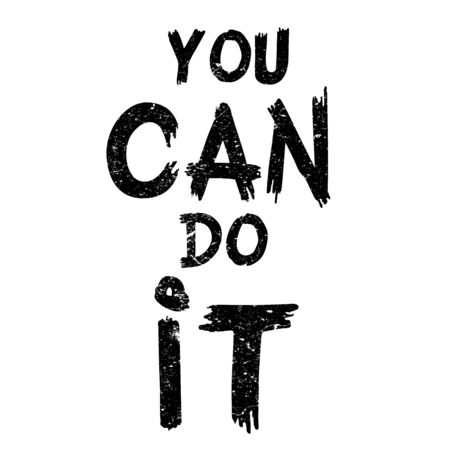 paint can: Inspirational quote You Can Do It. Hand written calligraphy, brush painted letters. Vector illustration.