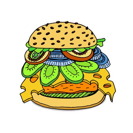 Wyciągnąć rękę Delicious soczysty burger. Ilustracji wektorowych szkic