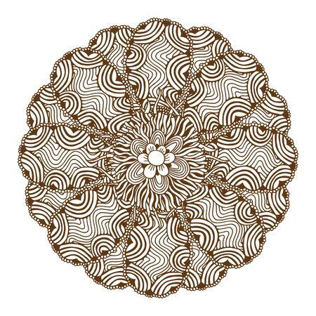 yantra: Circular floral ornament Mehndi Henna Tattoo Mandala, Yantra brown. Vintage vector banner frame card for text invitations for wedding birthday celebration, white background indian, ethnic, boho